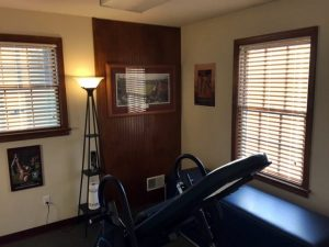 The recovery room features a back massage table as well as an inversion table to relieve back and neck pain