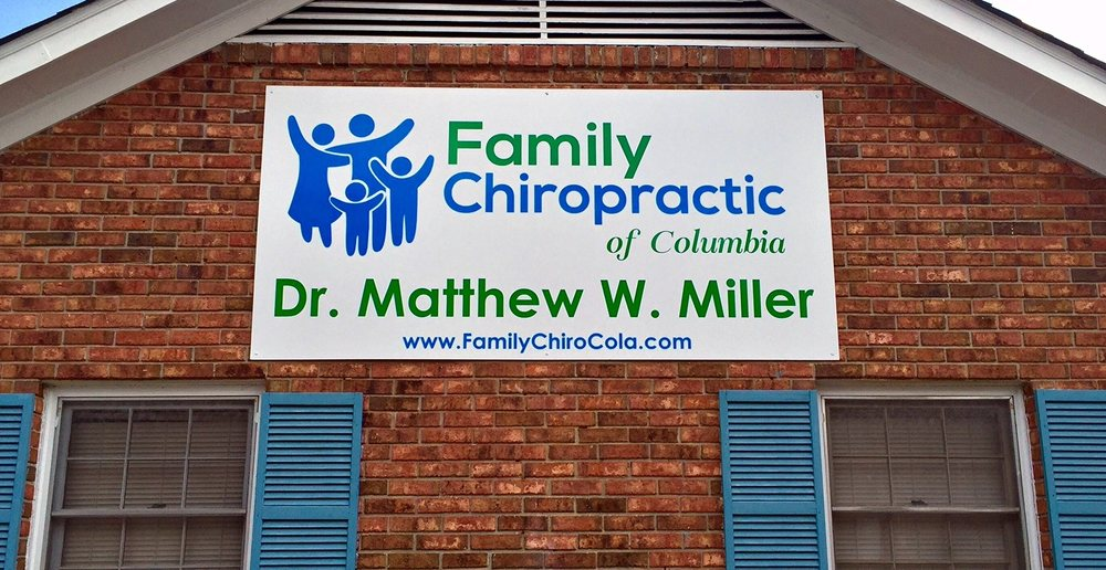 View of the Family Chiropractic of Columbia sign on the front of the office located in Columbia, SC